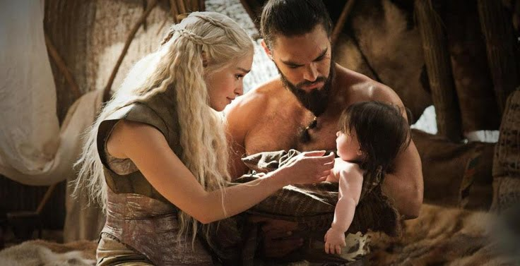 "Game Of Thrones Series: Daenerys Targaryen And Khal Drogo Baby. ""Emily Clarke, Left, As Daenerys Targaryen. The Series Inspires New Parents To Give Old English Names To Their Babies."